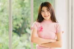Asian woman with pink breast cancer awareness ribbon. Happy young Asian woman in pink shirt with pink breast cancer awareness ribbon royalty free stock photos