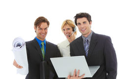 Happy young attractive business team Royalty Free Stock Photos