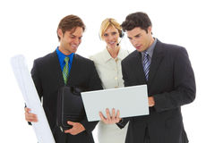 Happy young attractive business team Royalty Free Stock Photography