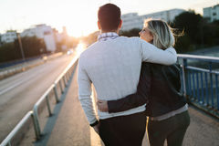 Happy young attractive couple spending time together Royalty Free Stock Photos