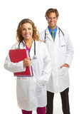 Happy young attractive doctor and nurse Royalty Free Stock Image