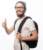 Happy young bearded man Royalty Free Stock Photography