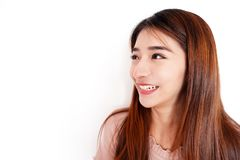Happy Young Beautiful Casual Asian Woman Smile and Standing Isolated. Concept People Laugh, Joke Wearing Her Red Hair to Copy Spac stock photos