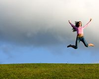 Happy young beautiful girl. stock photography