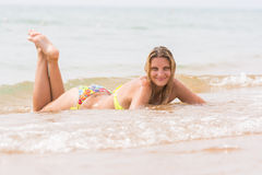 Free Happy Young Beautiful Girl Lies On Beach Stock Photos - 81243593