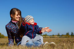 Happy young beautiful mather with baby on nature outdoor Royalty Free Stock Photography