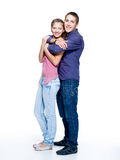 Happy young beautiful smiling couple stock photos