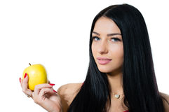 Happy young beautiful woman holding apple isolated on white background Royalty Free Stock Photos