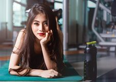 Happy young beautiful woman lifestyle sport portrait training workout exercise cardio royalty free stock image