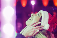 Happy Young Beautiful Woman.Surprised winter Girl. Stock Photos