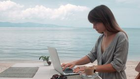 Happy Young Beautiful Woman Using Laptop, outdoors. Happy Young Beautiful Woman Using Laptop in cafe at the beach stock video