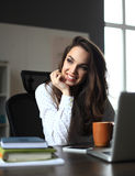 Happy Young Beautiful Woman Using Laptop, Indoors Stock Image