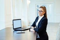 Happy Young Beautiful Woman Using Laptop, Indoors. Happy Young Beautiful Woman Using Laptop, Indoorsr Stock Photos