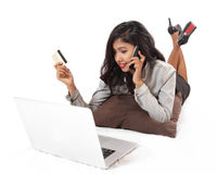 Happy Young Beautiful Woman Using Laptop royalty free stock photography