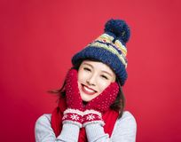 Young Beautiful Woman in winter clothes  Stock Image