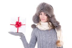 Happy young beautiful woman in winter clothes with christmas pre Stock Photo