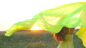 Happy young beautiful woman in yellow dress running on wheat field in sunset summer, Freedom health happiness concept stock video footage