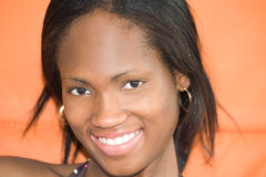 Happy young black woman. Portrait of happy young black woman Royalty Free Stock Photo