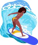 Happy young black woman surfer riding big waves on blue surfboard. Summer illustration with beautiful wave rider with curly hair. Happy young black woman surfer vector illustration