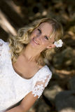 Happy young blond bride Royalty Free Stock Photography