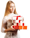 Happy young blond girl with presents Stock Photo