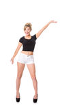 Happy young blonde,  full length on white; space for text Stock Photos