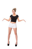 Happy young blonde,  full length on white; space for text Stock Photo
