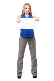 Happy young blonde holding empty white board. Isolated Stock Photo