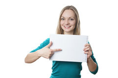 Woman holding blank sign royalty free stock image