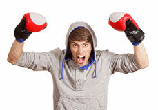 Happy young boxer Royalty Free Stock Photos