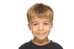 Happy young boy. Portrait of happy young boy isolated on white background Stock Image