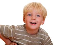 Happy young boy. Portrait of a happy young boy on white background Royalty Free Stock Images