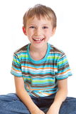 Happy young boy. Close up of happy young boy isolated on white background Royalty Free Stock Photo