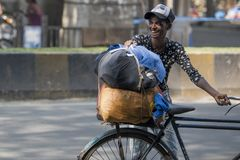 Happy Young Boy With Bicycle Near CSMT,Mumbai Royalty Free Stock Image