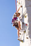 Happy Young Boy Climbing Royalty Free Stock Image