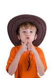 Happy young boy with a cowboy hat Stock Image