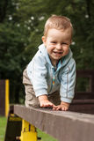 Happy young boy crawling on the ladder. In the park Royalty Free Stock Photo