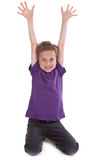 Happy young boy with hands raised Royalty Free Stock Photos