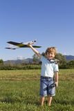 Happy Young boy and his new RC plane Royalty Free Stock Photo