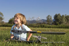 Happy Young boy and his new RC plane Stock Image