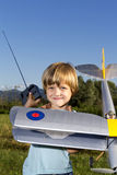Happy Young boy and his new RC plane Stock Images