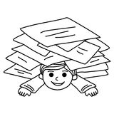 Happy young boy littered with paper sheets Royalty Free Stock Image