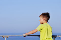 Happy young boy looking horizon. And dreaming on quay of blue sea with bird Royalty Free Stock Photos