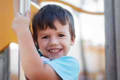 Happy young boy outdoor portrait Royalty Free Stock Image