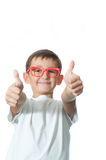 Happy young boy over white background Royalty Free Stock Photos