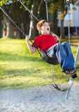 Happy young boy playing on swing. In a park. Screaming and having fun Stock Image