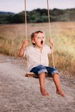 Happy young boy playing on swing in a park. Screaming and having fun Stock Photography