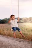 Happy young boy playing on swing in a park Royalty Free Stock Photography