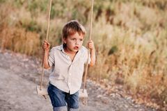 Happy young boy playing on swing in a park. Screaming and having fun Royalty Free Stock Photos