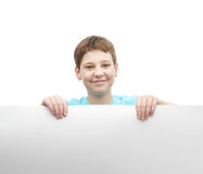Happy young boy with a sheet of paper Royalty Free Stock Photos